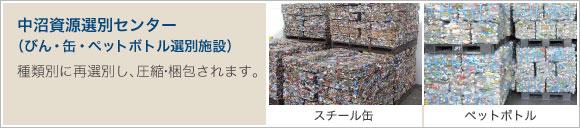 中沼資源選別センター (びん・缶・ペットボトル選別施設)種類別に再選別し、圧縮・梱包されます。